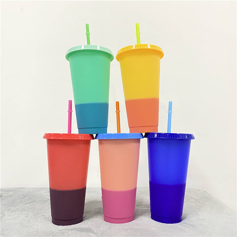 Custom hot sell creative healthy pp plastic 700ml/22oz coffee juice cup sensitive temperature color change beer cup
