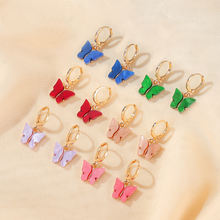 Artilady Cute Korean Gold Animal Acrylic Butterfly Pendant Charms Plastic Circle Hoop Earrings For Girls Jewelry