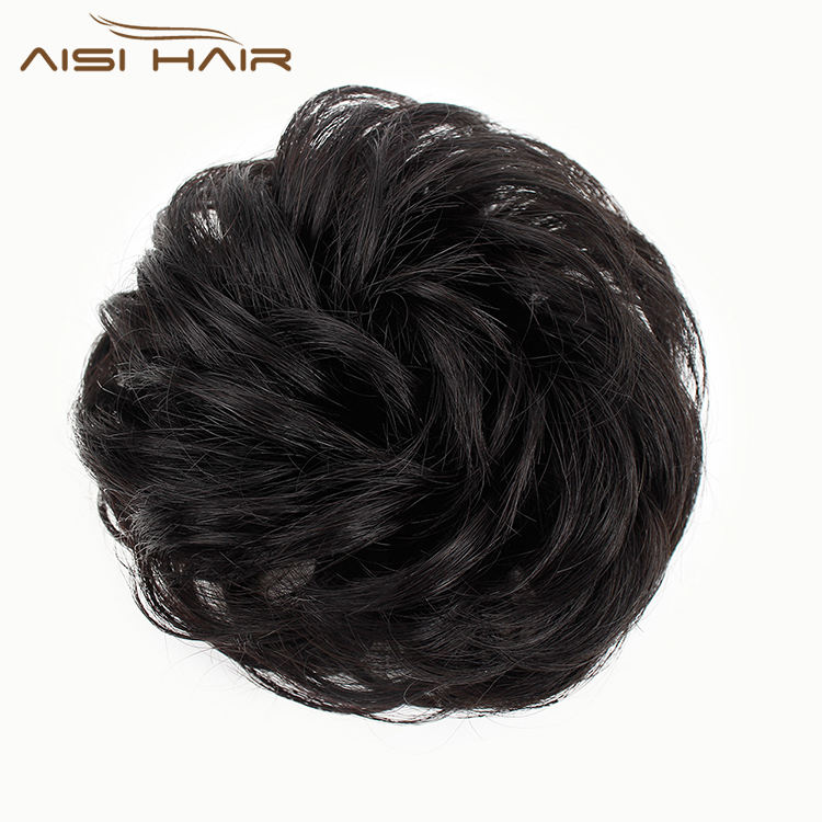 Aisi Hair Brazilian Human Hair Curly Black Chignon Bun Elastic Rope Rubber Band Hairpiece Clip In Extension For Black Women