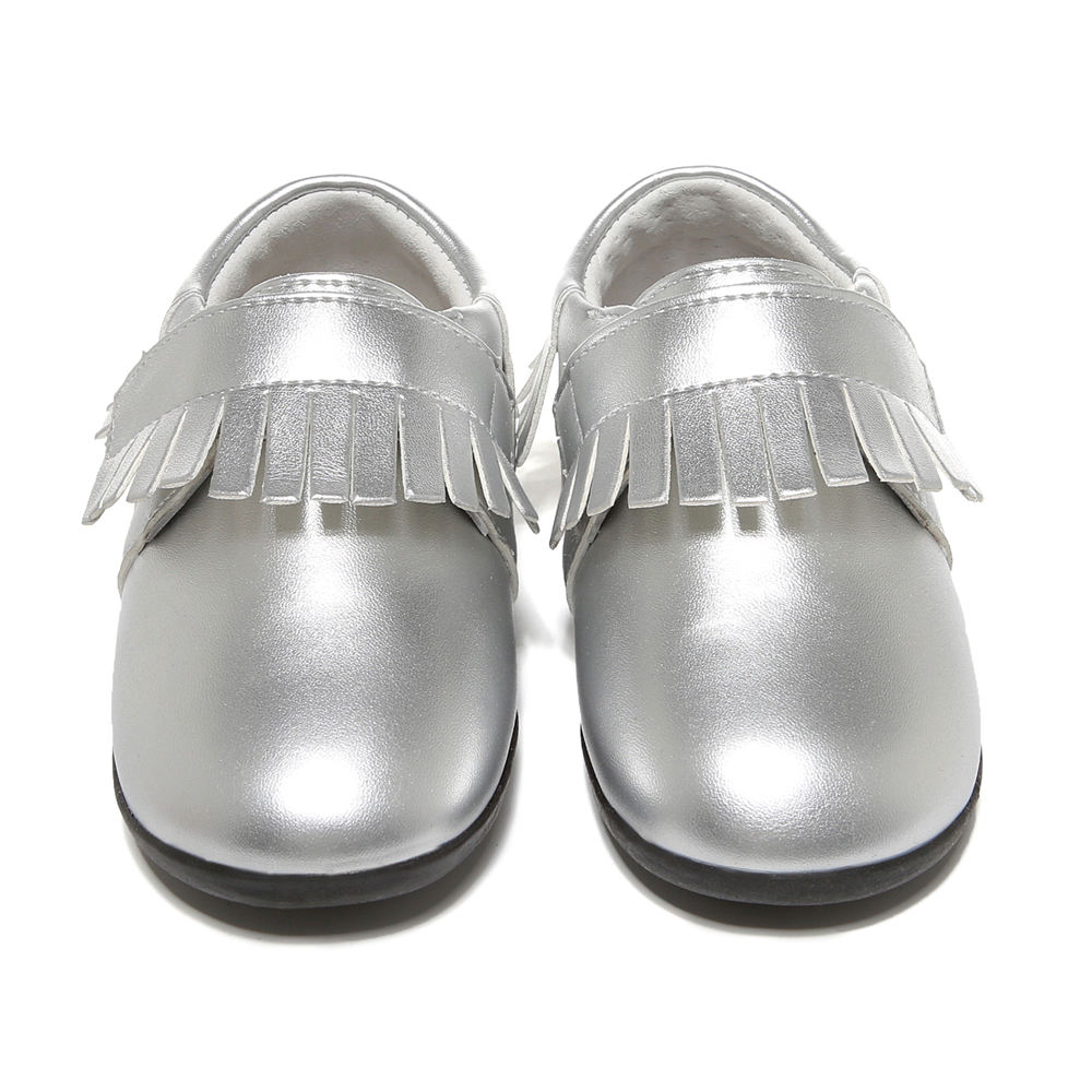 Silver toddler sneakers latest stylish baby little kid leather shoes