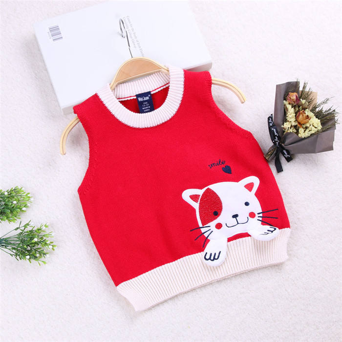 Boys Jumper Kids Knitted Vest Sleeveless Lingge Knitwear Tank Top Pullover 3-8 Years