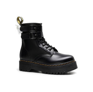 High quality platform waterfall black fur work safe boots women