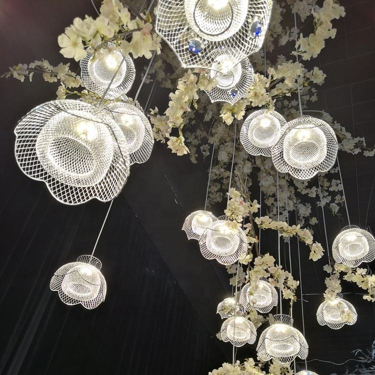 2019 latest design cheap wedding deco flower sharp hanging lights for wedding decoration party event