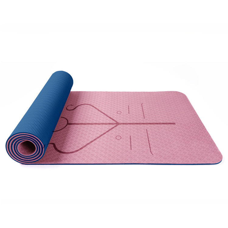 Custom eco friendly alignment line TPE yoga mat