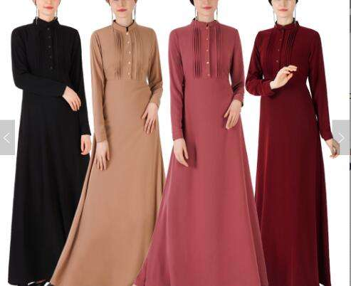 OEM New Arrival Muslim Long Dress with Front Pleat Islamic Clothing Shirt Dress Fashion Design