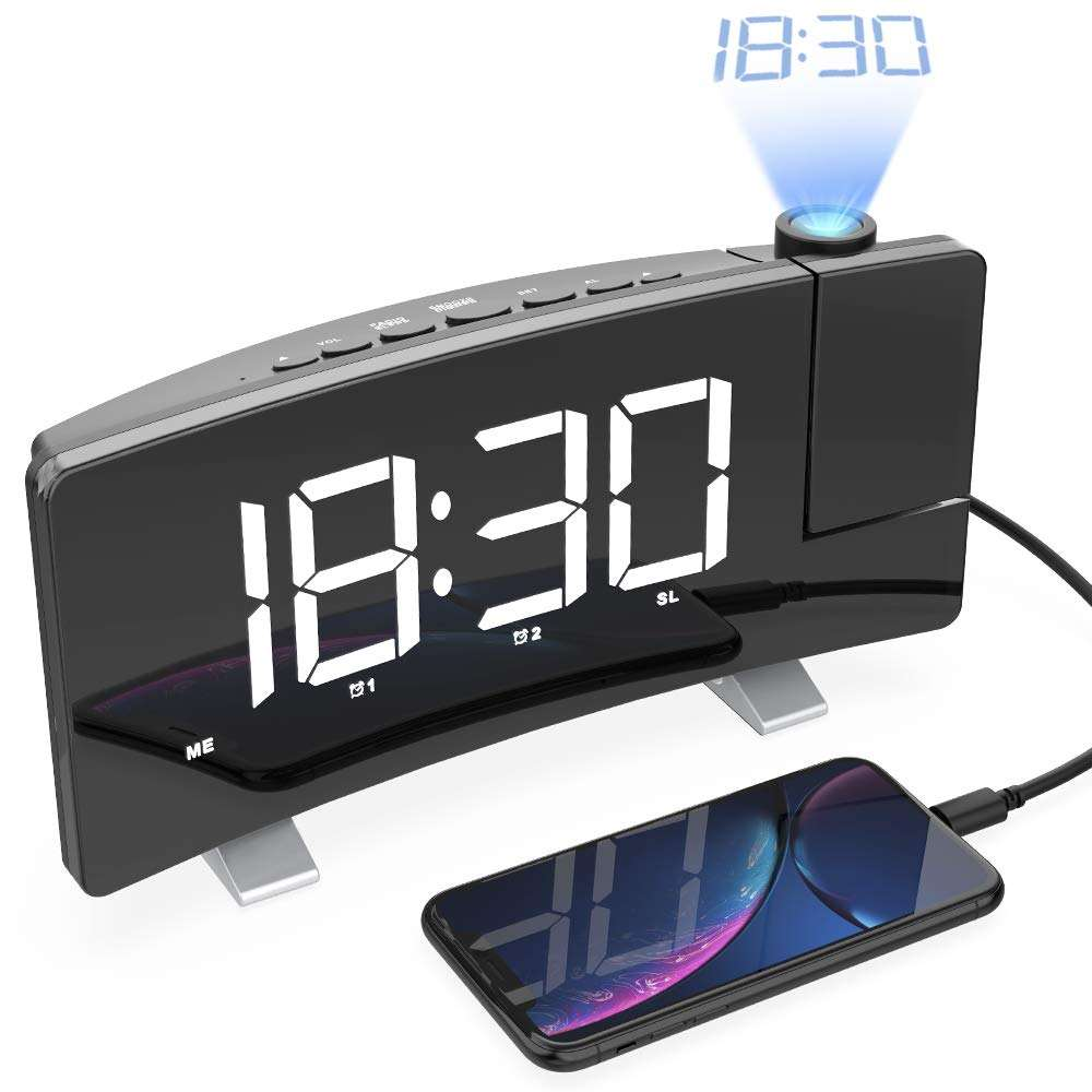 2019 New Digital Projection Table Metal Wall Alarm Clock With LED Projector and Radio