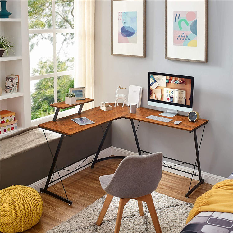 2020 Modern L Shape Wood Corner Computer Desk