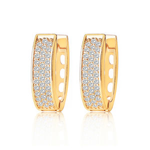 Fashion earring geometric letter U shape hoop earring 18k Italian gold plating and luxury zircon jewelry