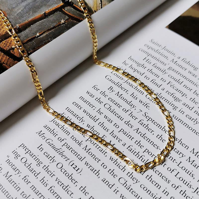 S925 Sterling Silver Gold Plated Link Chain Tennis Trendy Necklace Clavicle Chain Necklace For Women Dylam jewelry