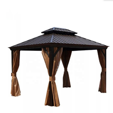 10'x13' steel hardtop gazebo with curtains  - Brown