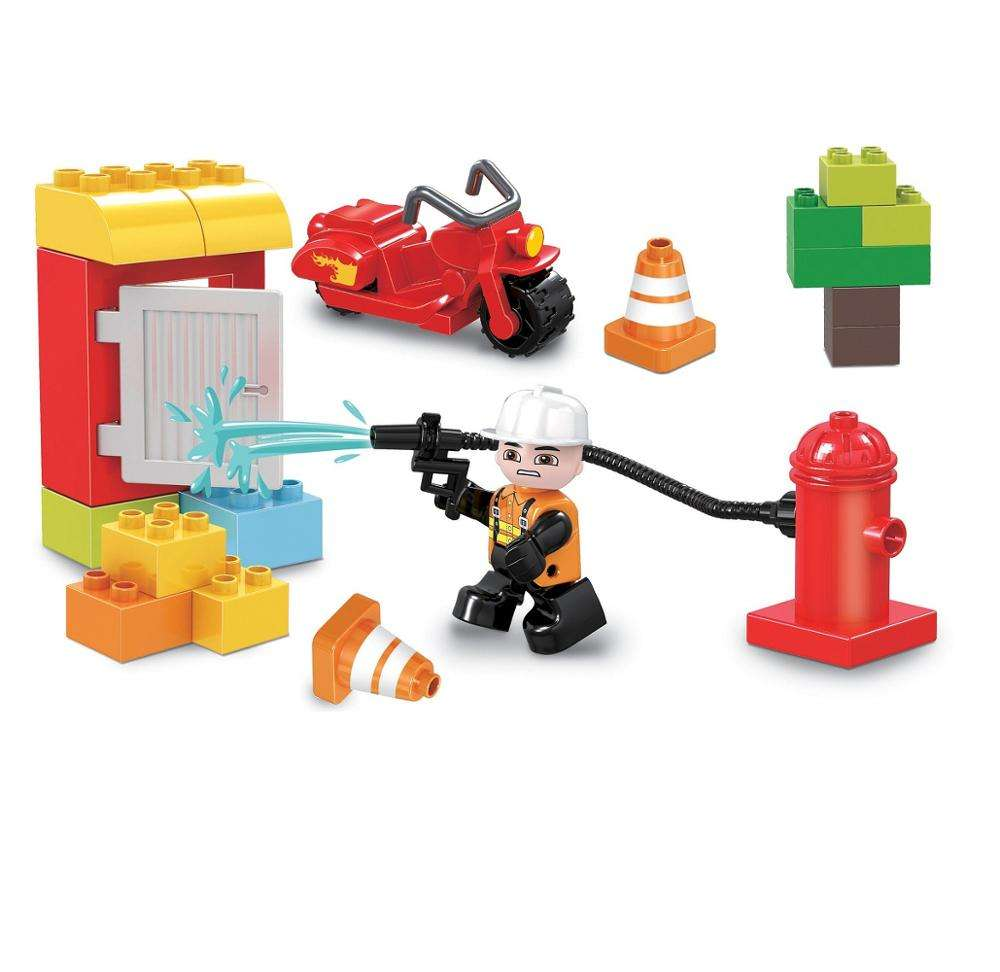 COGO Duplo Bricks Toys Fire Fighting City Play Set For 3 Years Old