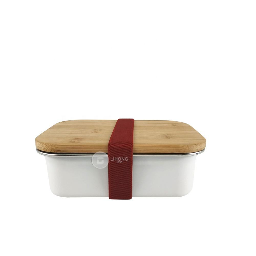 Amazon Top Seller Stainless Steel Bamboo Fiber Lunch Box Eco-Friendly Sandwich Bento Box with Strap