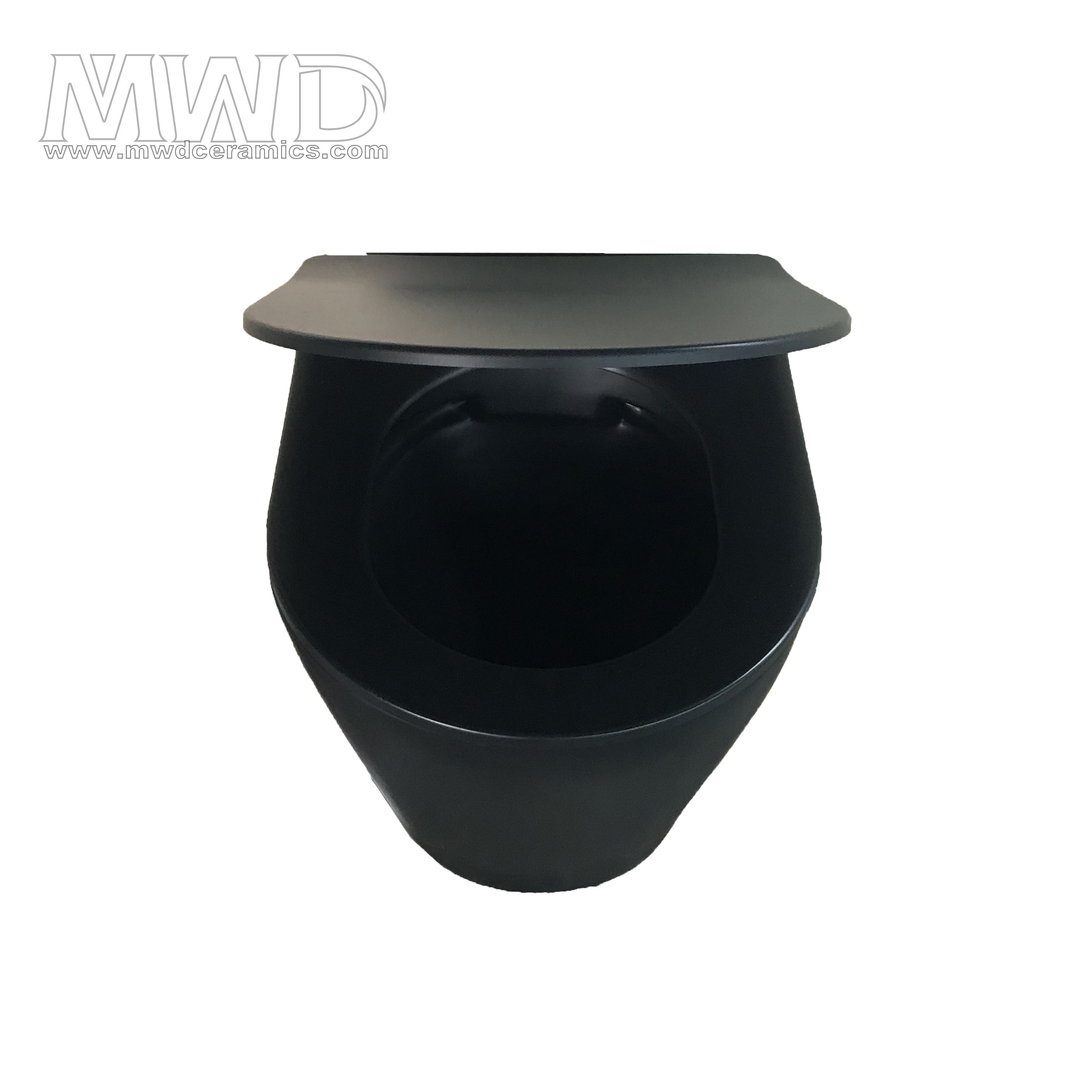 UF matt wall hung rimless toilet black color soft close seat