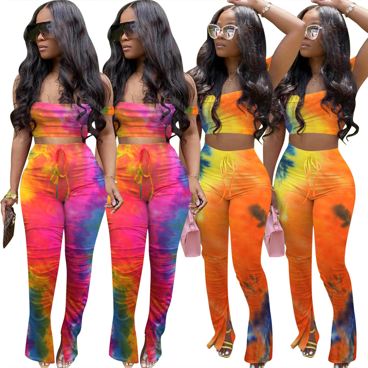 trendy gradient jumpsuit sleeve outfit wrap chest pants set for 2020 women