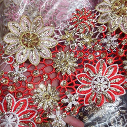 Wide Metallic Embroidered Motif Glitter power Nigeria  follower Venice Lace Trim Crochet Cord