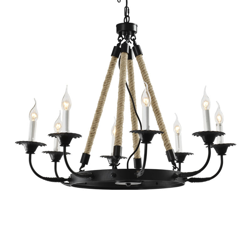 HUAYI North American Retro Decorative Hanging Lamp Hemp Rope Candle Chandelier D850 E12 Metal Matte Black Round Pendant Light
