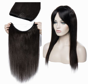 Ready to ship Drop shipping extensions halo invisible 16-24inches Natural Black #1B clip in human hair extension