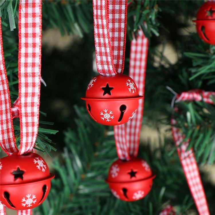 Ourwarm 20Pcs Christmas Tree Decoration Red Bell Metal Snowflake Jingle Bell