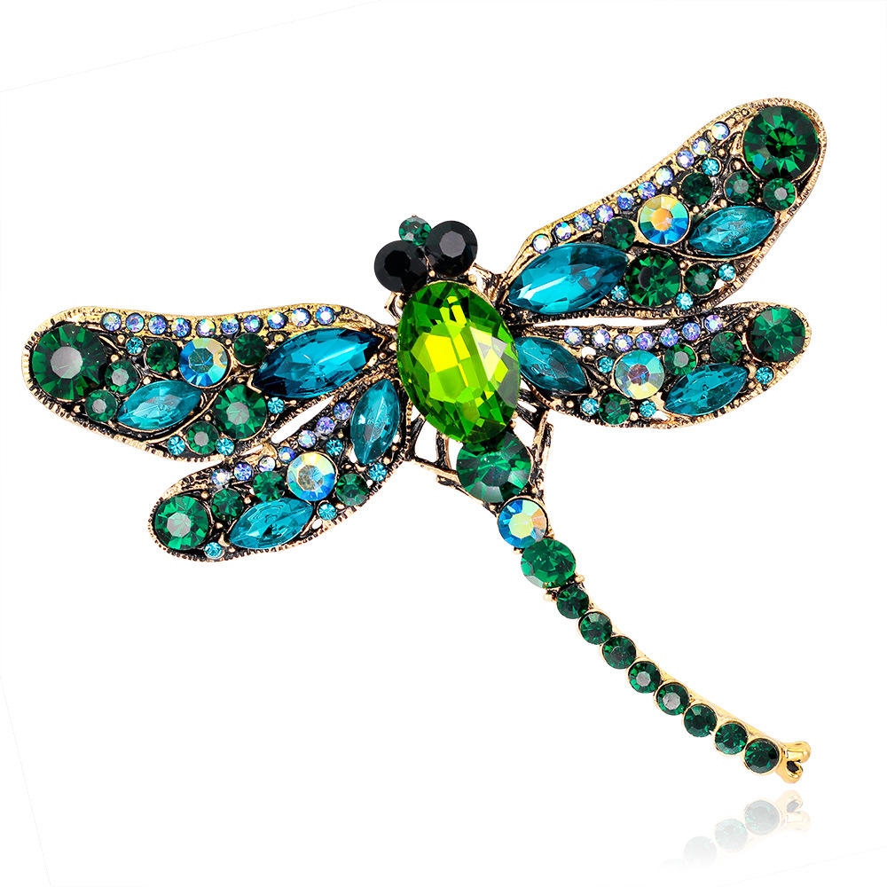 Ladies Large Insect Brooch Pin Fashion Dress Coat Accessories Cute Jewelry Diamond Retro Dragonfly Brooch
