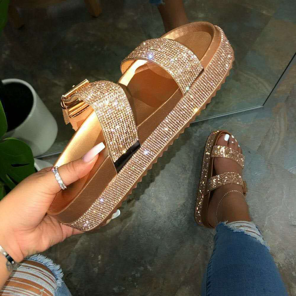 SD-28 fashion latest Bling bling sequined beaded double strap buckle open toe slipper for women thick rubber sole beach sandals
