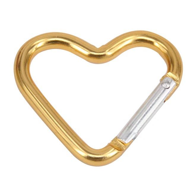 High Quality Mini #5 Aluminum Heart Shape Carabiner S carabiner