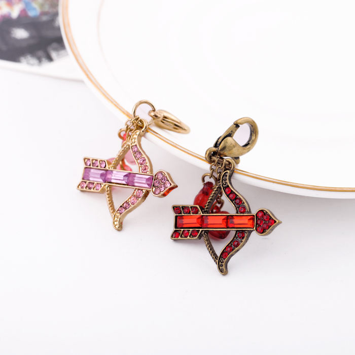 ts0020 Cute Charms Gold/Vintage Gold Plated Pink/Red Siam Crystal Cupid Love Bow And Arrow Heart Charms Couple Keychain