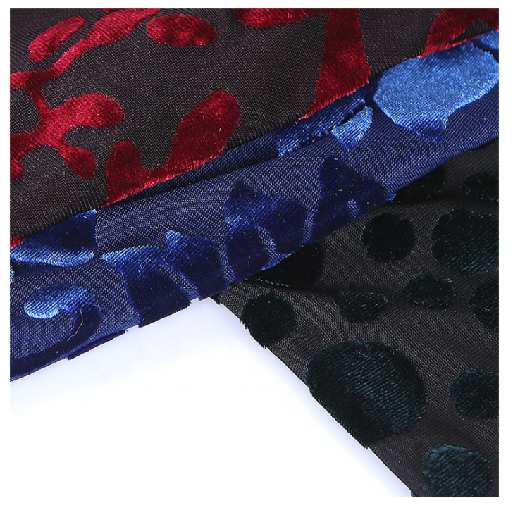 fashion burnout silk velvet floral printed velvet fabric