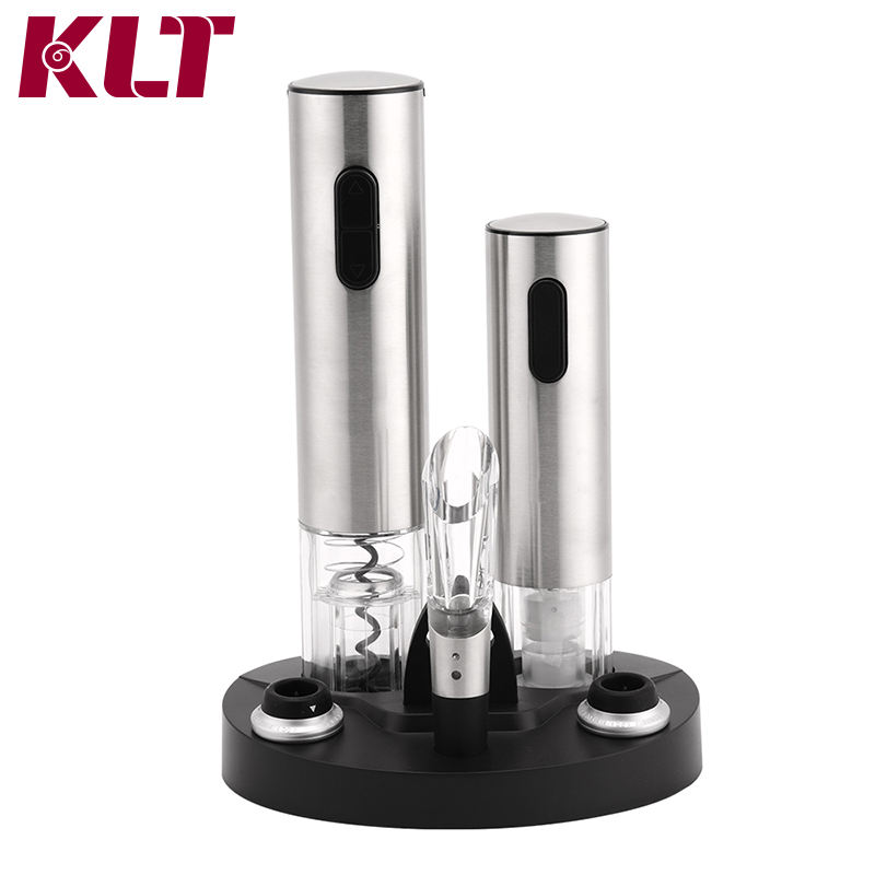 KLT Stainless Steel LED Light Silver Color Cylinder Metal Business Card Electric Wine Bottle Opener with Charger Gift Set
