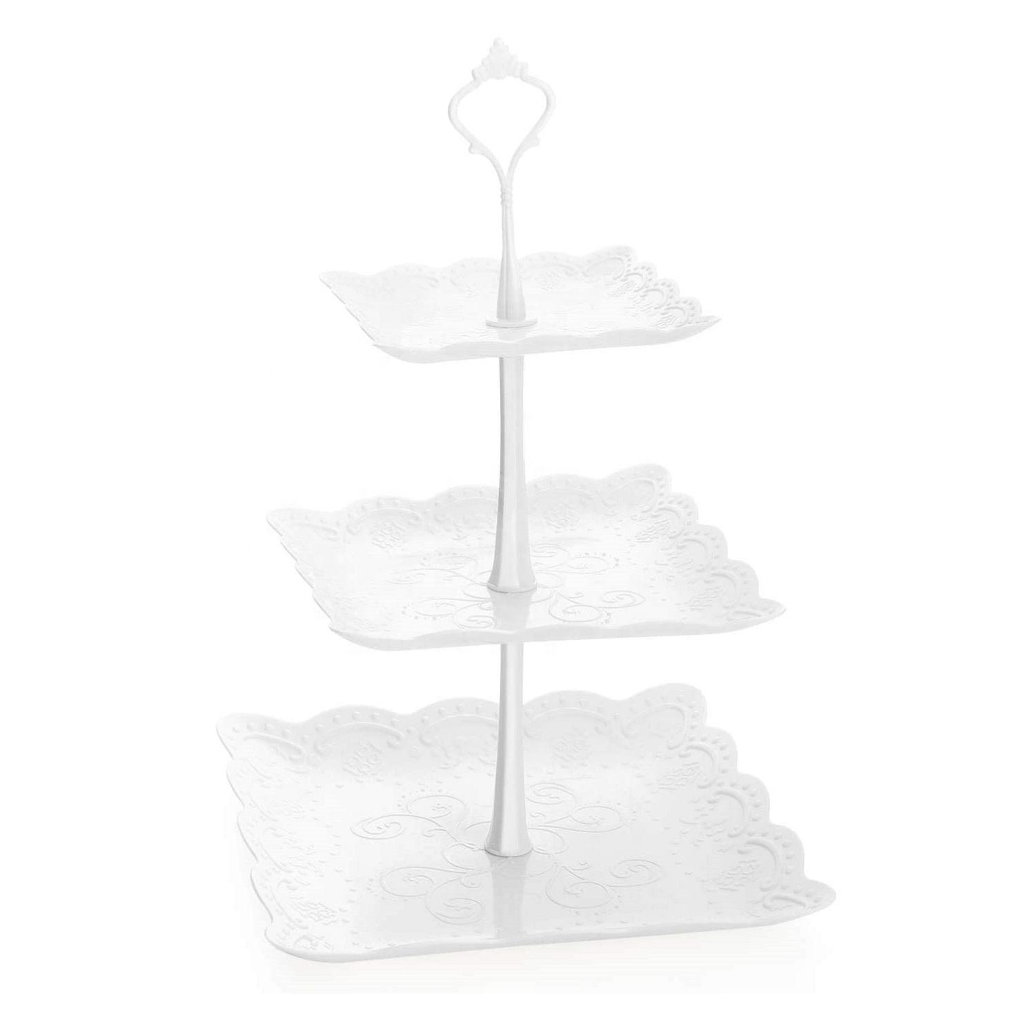 Plastic Tiered Cake Stand Dessert Cupcake Tower 3-Tier Cake Stand for Wedding Home Birthday