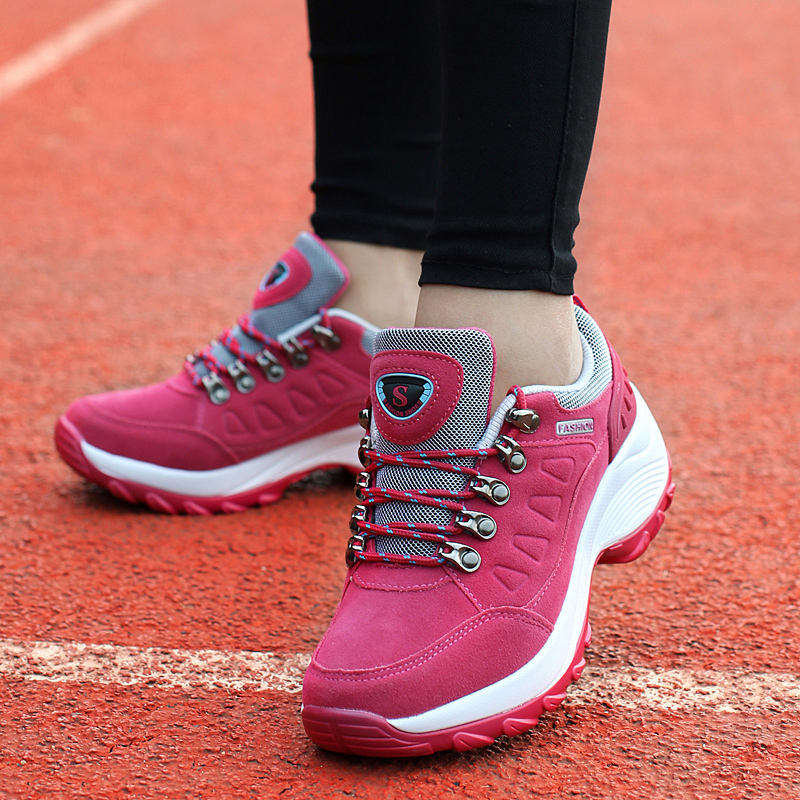 2019 Spring walking dance wedges Female Sport Shoes Woman Sneakers Breathable Lace-Up chaussure femme Running Shoes for Women