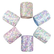 "2 Yards/lot 3"" mix sequins pastel sequin tulle fabric ribbon"