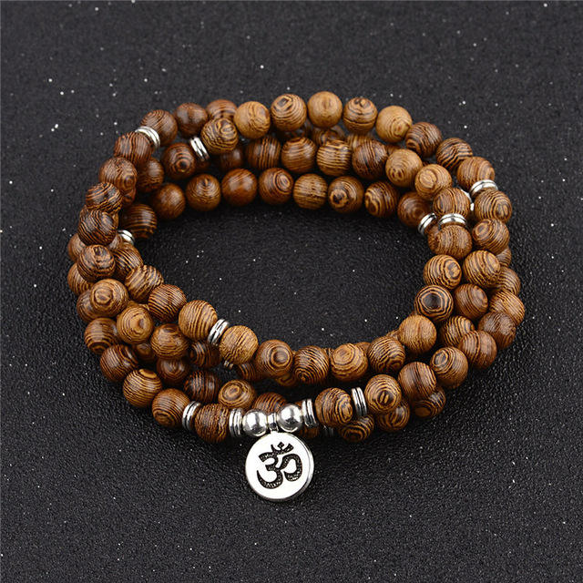 Tibetan Buddhist 108 Wood Beads Mala Multilayer Om Charm Bracelet For Women Men Jewelry