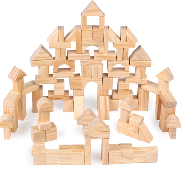 High quality amazon hot sale 100pcs educational blocks toys wooden natural building blocks set toy for kids
