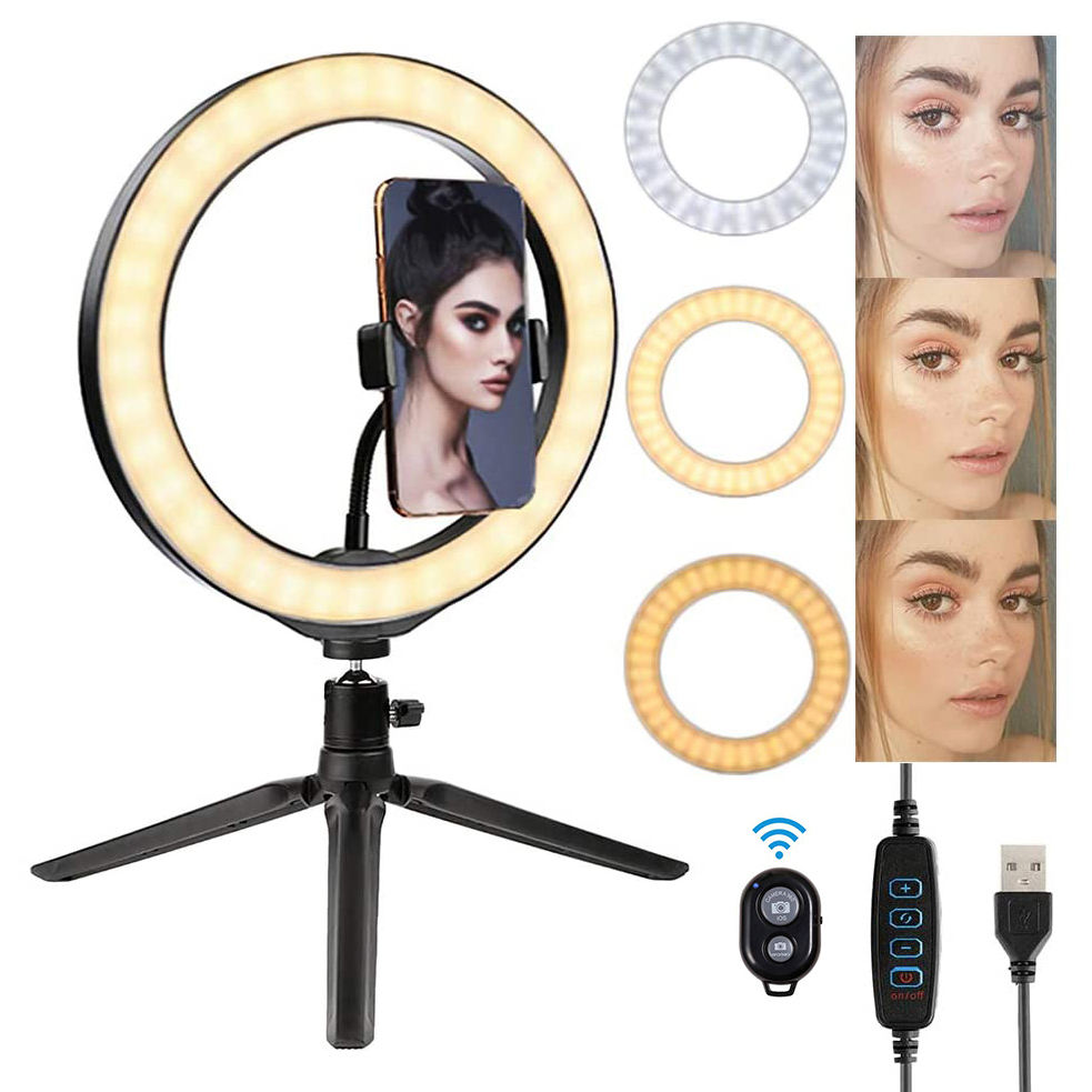 Amazon hot-selling 10 inch 26cm desktop ringlight led ring light with tripod stand