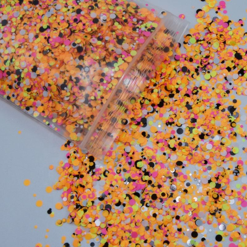 Neon Color 1 /2/3MM Nail Art Glitter Round Dots Sequins PD068 Acrylic Nails Confetti Sequins Glitter Polyester Glitter Flake