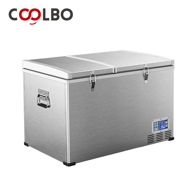 High quality double door stainless steel mini freezer fridge 100l for yacht