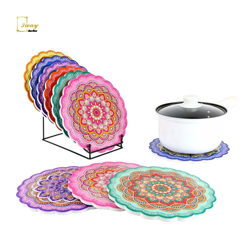 OEM customized cooking magnetic trivet flower coloring placemats dining table hot pot mat heat resistant for kitchen wholesale