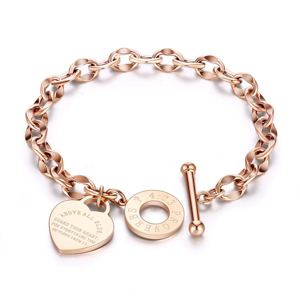 Graphic Customization [ Bracelet Jewelry ] Chain Bracelet Chain Bracelet Chinese Factory Custom Heart Pendant Rose Gold Plated Chain Bracelet Women Jewelry For Party