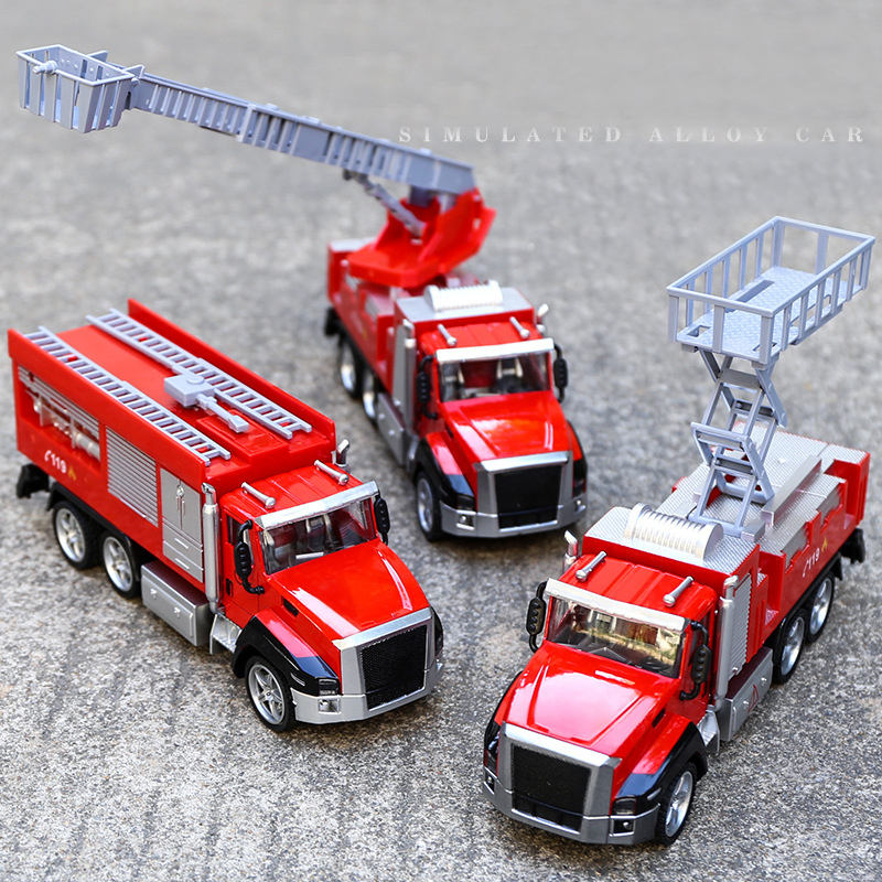 Alloy Engineering Toy Mining Car Truck Children's Birthday Gift Fire Rescue Present Toys For childrenToy Vehicles Fire Truck