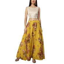 2020 New Trend Flare Hem Yellow Printed Women Maxi Skirt