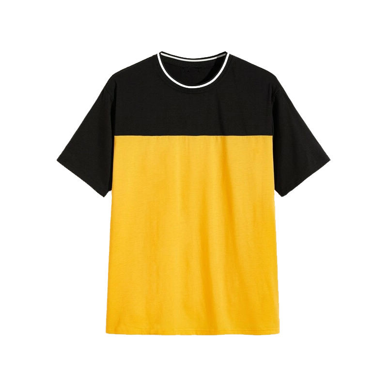 Men's CVC Blank Two Tone Color Short Sleeve Tshirt 65%Cotton 35%Polyester Plain Dyed Round T Shirt