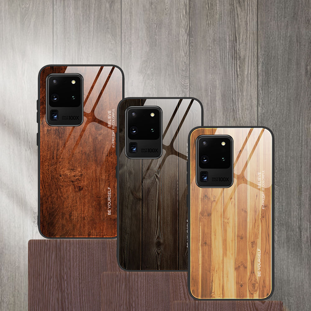 luxury Real wooden wood pattern tempered glass Shockproof S11s s20 phone cases for Samsung s11 s20 ultra case