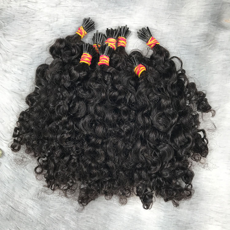 Virgin Cuticle Aligned Human Micro Link I Tip Hair Extensions Kinky Curly Best Quality Unprocessed Human Hair