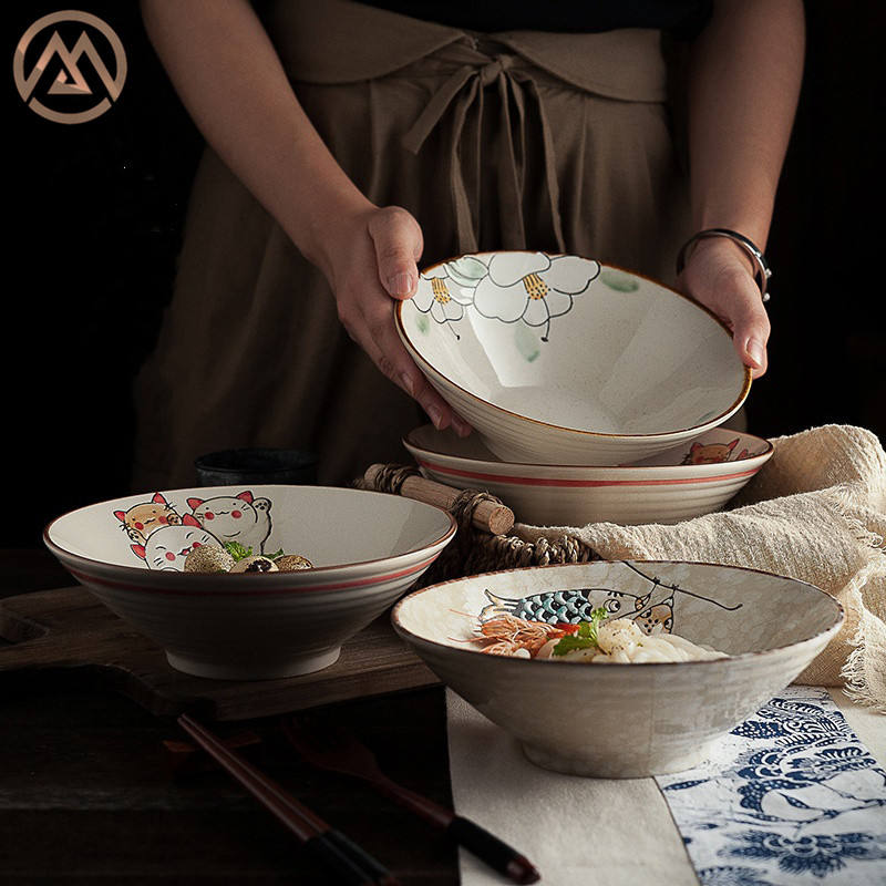 Japanese ceramic tableware hand-painted ramen bowl lovely cartoon fruit salad soup noodle bowl