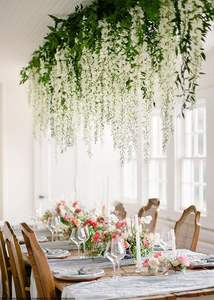 wholesale indoor Home Garden Wedding Decor white Artificial Wisteria Vine Ratta Silk bean Hanging Flowers branch