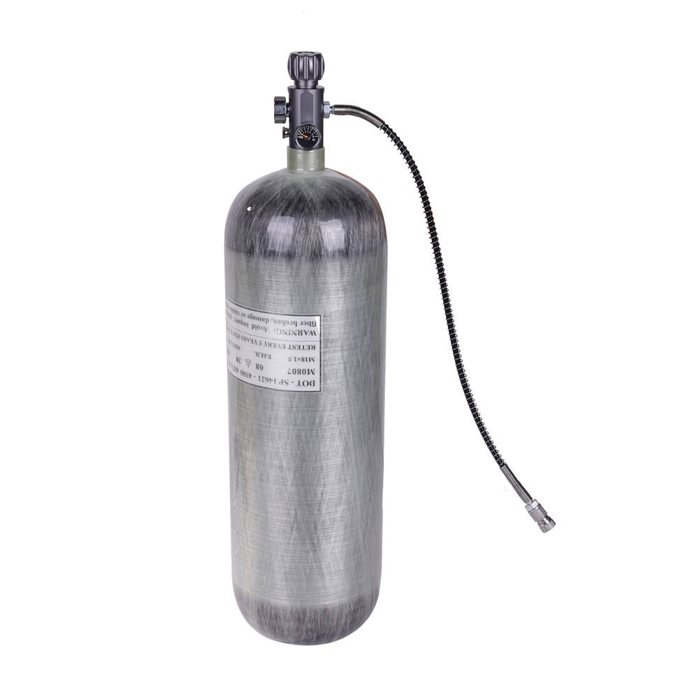 6.8L PCP Carbon Fiber Tank 4500psi With DOT Certificate Scuba Diving Air Cylinder with Dual Gauge Valve Air Filling Station