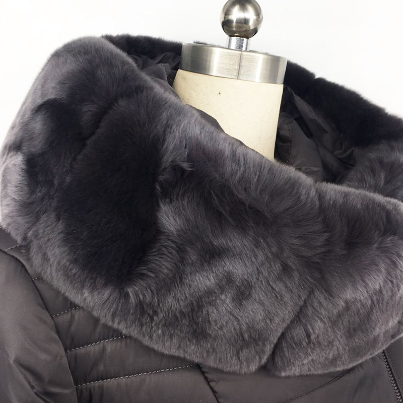 New product Rex rabbit real fur collar winter slim coats women fashion jacket fabric coat long winter cotton-padded clothes