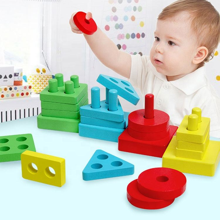 Wood Educational Preschool Toddler Shape Color Recognition Geometric Blocks Stack Sort toy