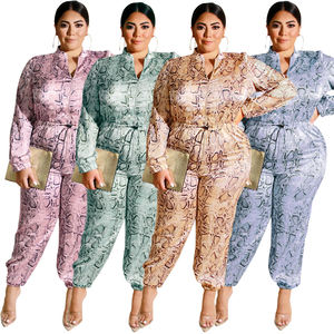 FM-19376 High quality faddish sexy leopard fat women clothing casual plus size jumpsuit