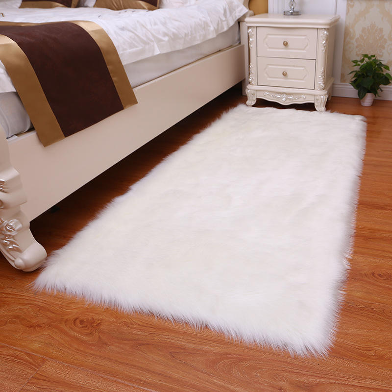 Faux Sheepskin Area Rugs Silky Long Wool Carpet for Living Room Bedroom, Children Play Dormitory Home White Rug#
